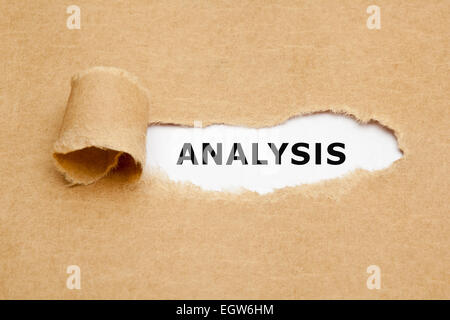 Analysis appearing behind torn brown paper. - Stock Photo