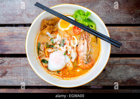groumet Tomyum noodle with seafood - Stock Photo