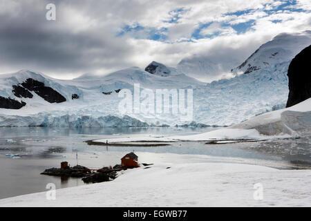 Antarctica, Graham Land, Paradise Bay,  glaciers and Almirante Brown Naval Base - Stock Photo