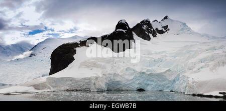 Antarctica, Graham Land, Paradise Bay glacier, panoramic - Stock Photo