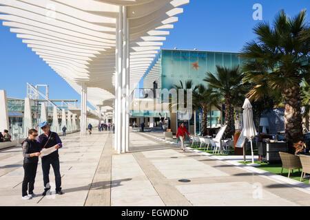 Alborania Aula del mar, Maritime Museum at Marina and waterfront promenade in Port Malaga, Spain. - Stock Photo