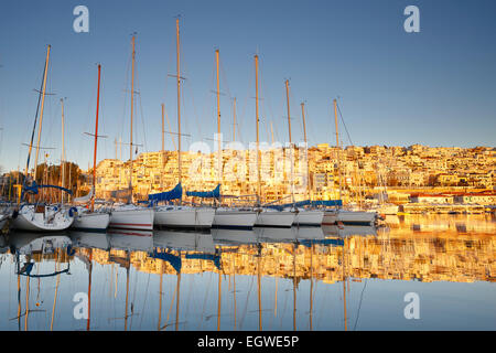 Yachts in Mikrolimano marina in Athens, Greece. - Stock Photo