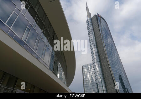 Unicredit tower by Cesar Pelli, in Porta Nuova, Milan, Italy - Stock Photo