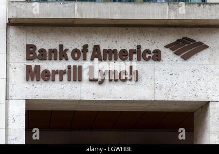 Bank of America Merrill Lynch building sign, Giltspur St. London, UK - Stock Photo