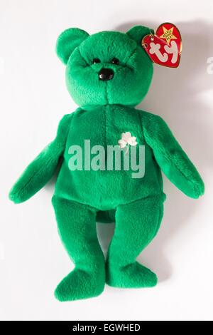 ty original beanie baby Erin green teddy bear with Irish shamrock isolated on white background - Stock Photo