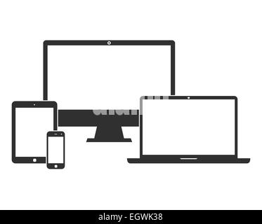 Electronic devices with white blank screens - Stock Photo