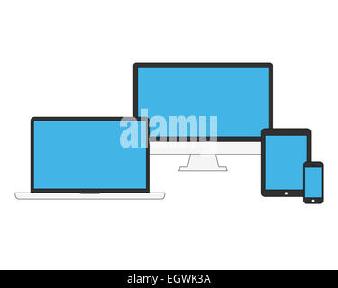 Electronic devices with blue blank screens - Stock Photo