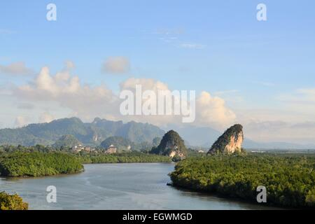 Tropical river and mangrove in Krabi, Thailand - Stock Photo