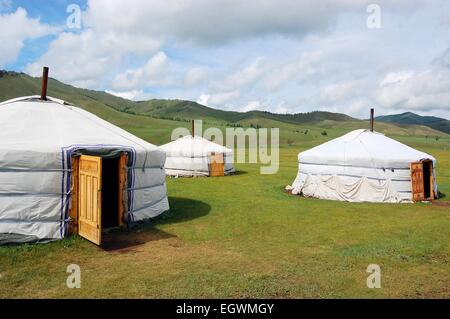 Yurt camp in Mongolian Steppe - Stock Photo