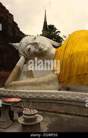 The Temple of the Reclining Buddha in Wat Yai Chai Mongkol in Ayutthaya - Stock Photo