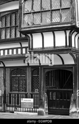 Tudor House in black and white, the story of a Southampton House &Garden at Southampton, Hampshire, UK - Stock Photo