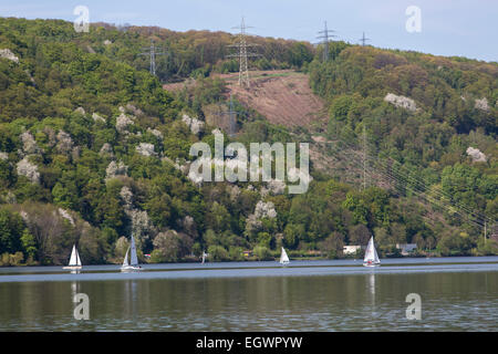 Hakort lake, a reservoir of river Ruhr, Wetter, Germany - Stock Photo
