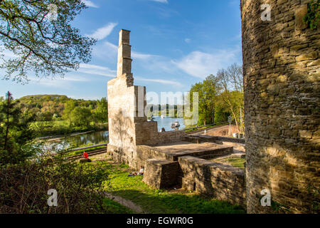 River Ruhr, ruin of Hardenstein castle, Witten, Germany,  bike and passenger river ferry boat, - Stock Photo
