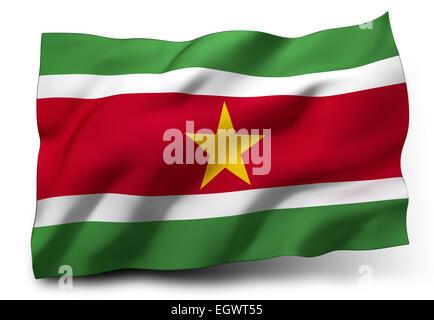 Waving flag of Suriname isolated on white background - Stock Photo