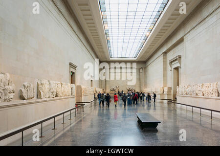 The Elgin Marbles Gallery in the British Museum, London, England, UK - Stock Photo