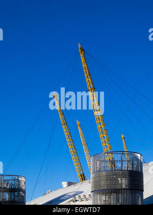 Exterior of roof structure on the O2 London building, formerly known as the Millenium Dome - Stock Photo