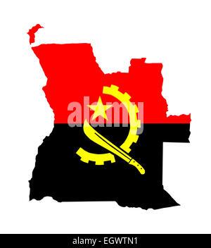 angola country flag map shape national symbol - Stock Photo