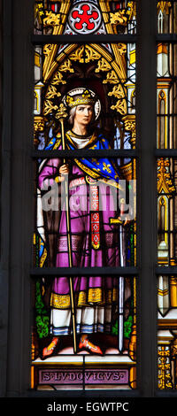 Stained Glass window depicting king Louis IX, commonly Saint Louis, Capetian King of France from 1226 until 1270 - Stock Photo