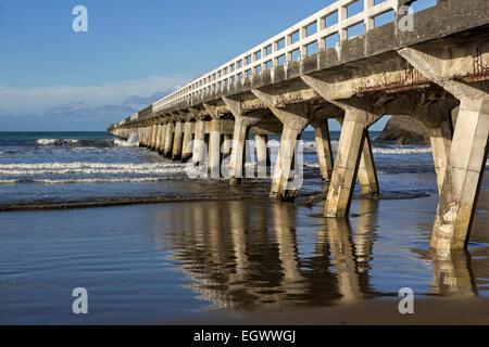 Historic pier in Tolaga Bay in New Zealand - Stock Photo