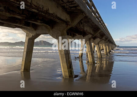 Pier in Tolaga Bay in New Zealand - Stock Photo