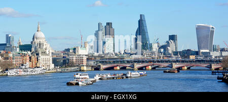 Panoramic City of London skyline & cheesegrater building (tallest middle) & walkietalkie building (far right) & - Stock Photo
