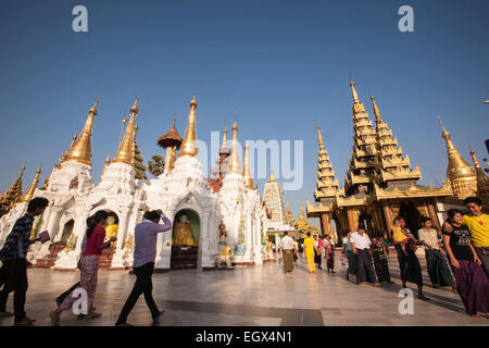 Shwedagon Pagoda main stupa gold dome domed buddhist buddhism monument holy site religion religious yangon myamnar, - Stock Photo