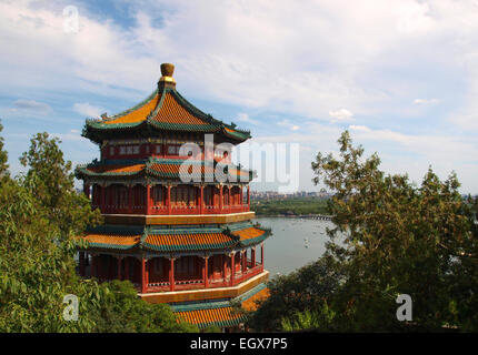 A tower of the summer palace in Beijing China - Stock Photo
