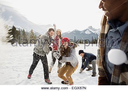 Friends enjoying snowball fight in field below mountains - Stock Photo