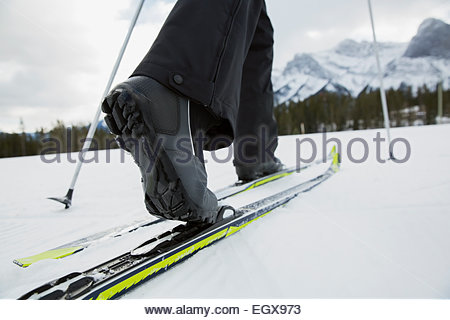 Close up of woman cross-country skiing - Stock Photo