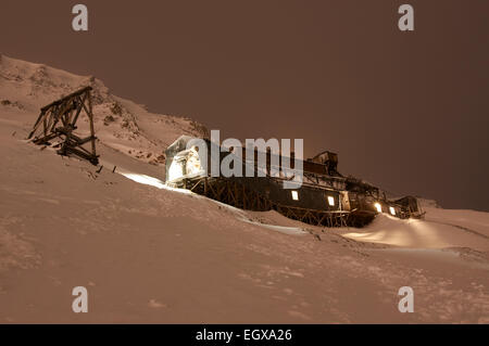 The old coal mine, Gruve 2b, in Longyeabyen, Svalbard. - Stock Photo