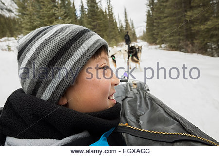 Smiling boy riding in dogsled in snow - Stock Photo