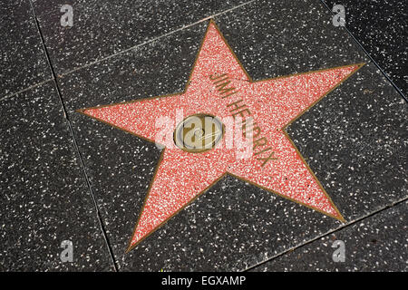 Star of Jimi Hendrix on the Hollywood Walk of Fame - Stock Photo