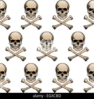 Seamless wallpaper background with colored skulls and crossbones. - Stock Photo
