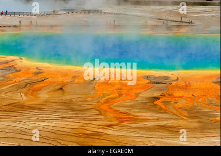 Visitors and boardwalks at Grand Prismatic Spring, Yellowstone National Park, Wyoming, USA - Stock Photo