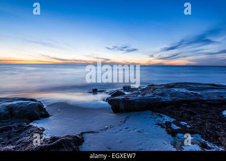 Windansea Beach as the Sun has set over the ocean. La Jolla, California, United States. - Stock Photo