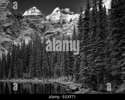 First snow of the season on Moraine Lake. Banff National Park, Alberta, Canada - Stock Photo