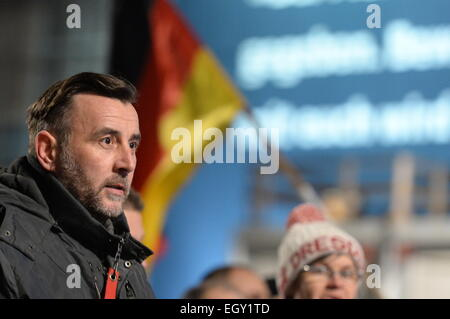 Dresden, Germany. 02nd Mar, 2015. The co-founder of the anti-Islam 'Pegida' movement, Lutz Bachmann, speaks during - Stock Photo