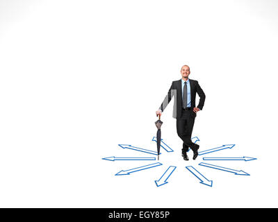 smiling businessman and 3d abstract arrows on white - Stock Photo