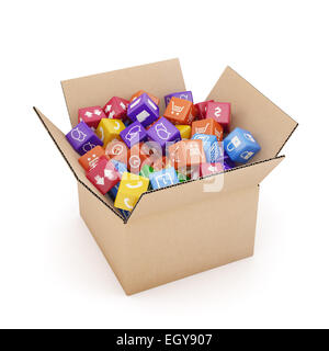 App icons and buttons for smartphone and tablet computer in cardboard box isolated on white background. Mobile applications - Stock Photo