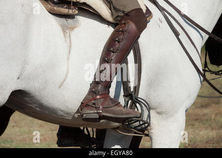 Detail of the boot of an andalusian rider. - Stock Photo