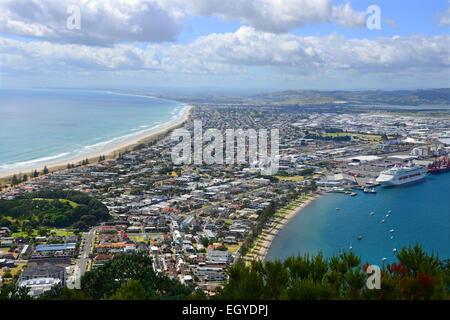 View of the town of Tauranga from the top of Mount Maunganui in New Zealand's North Island. - Stock Photo