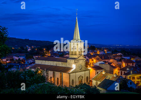 St Anne's church, illuminated in the evening sky, Chatel Guyon, Auvergne, France - Stock Photo