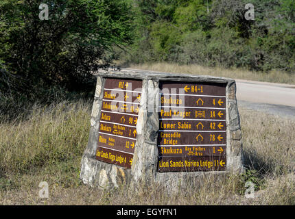 Signposts, Kruger National Park, South Africa - Stock Photo