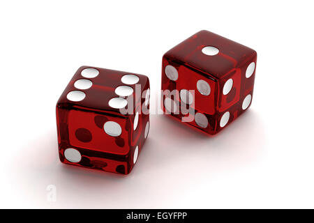 Two red, semi-transparent craps dice - Stock Photo