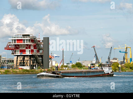 REM Eiland - 2011 Restaurant on the IJ Port Amsterdam Netherlands ( REM Island built in the Republic of Ireland - Stock Photo