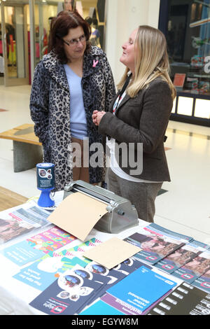 Stall promoting products and services for people with visual impairments, run by the charity Mysight in Nottingham - Stock Photo