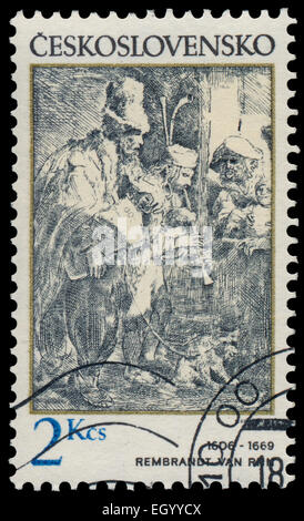 CZECHOSLOVAKIA - CIRCA 1982: Stamp printed in Czechoslovakia, shows musicians in a hostel, by Rembrandt (1606-1669), - Stock Photo