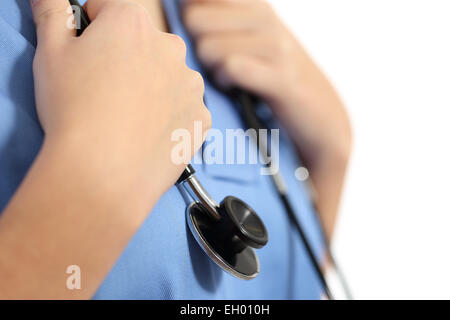 Close up of a nurse hands with stethoscope isolated on a white background - Stock Photo