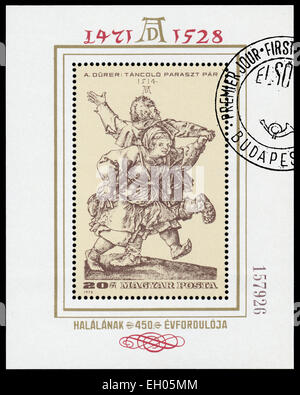 HUNGARY - CIRCA 1979: Stamp printed in Hungary shows engraver by Albrecht Durer 'Dancing pair', circa 1979 - Stock Photo
