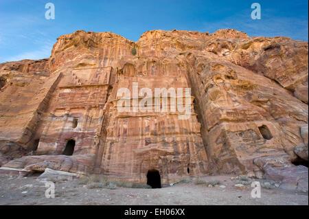 Three of the royal tombs in Petra in Jordan - Stock Photo